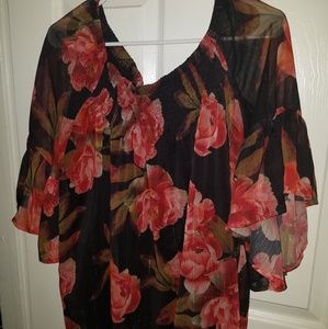 ANA black and red rose blouse